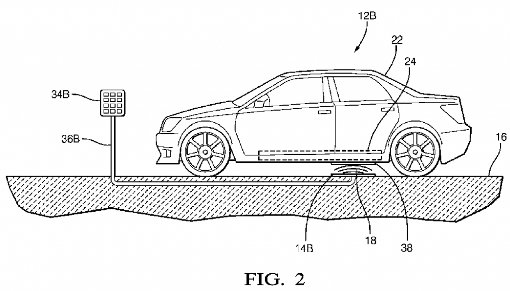 Fig. 3: Drawing from patent US20170341519 showing a wireless charging station integrated into a parking lot.