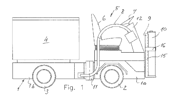 Fig. 6: Drawing of the battery-powered feed or bedding distribution trolley (DK2015000669).